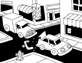 : Car Accident Line Art: Truck read ends a car on the street.