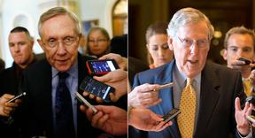 Harry Reid (left) and Mitch McConnell are pictured in this composite image. | AP Photos